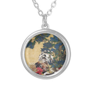 Rooster and Hen with Hydrangeas by Ito Jakuchu Round Pendant Necklace