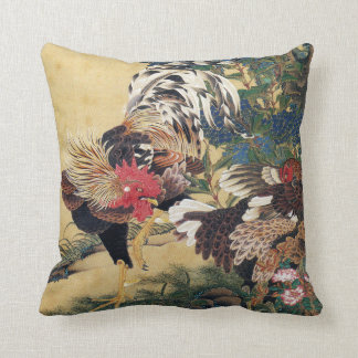 Rooster and Hen with Hydrangeas Cushion
