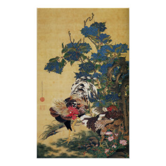 Rooster and Hen with Hydrangeas Poster