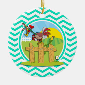Rooster; Aqua Green Chevron Double-Sided Ceramic Round Christmas Ornament