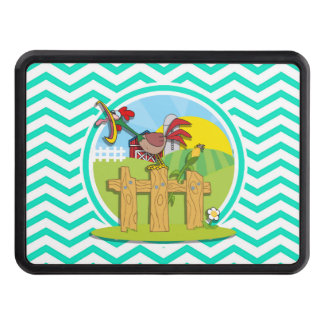 Rooster; Aqua Green Chevron Tow Hitch Covers