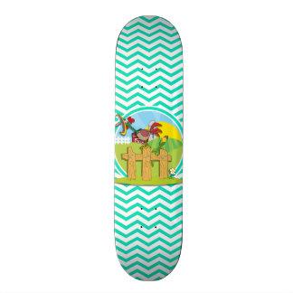 Rooster; Aqua Green Chevron Skateboard Decks