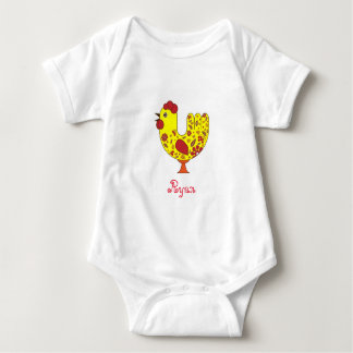 Rooster Baby Jersey Bodysuit with name