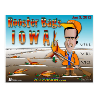 Rooster Bags Iowa Postcard