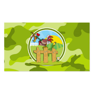 Rooster bright green camo camouflage business card template
