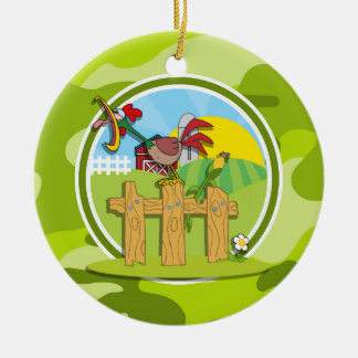 Rooster; bright green camo, camouflage Double-Sided ceramic round christmas ornament