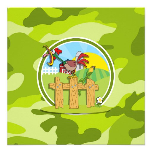 Rooster; bright green camo, camouflage personalized invitation