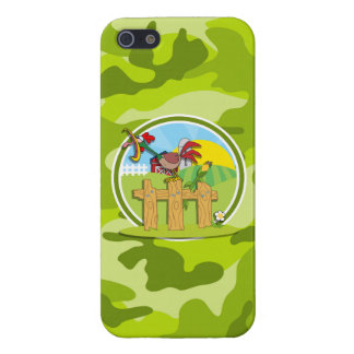 Rooster bright green camo camouflage iPhone 5/5S cases