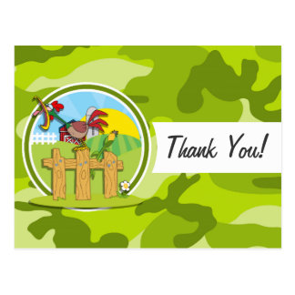 Rooster; bright green camo, camouflage postcard