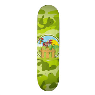 Rooster; bright green camo, camouflage skate board decks
