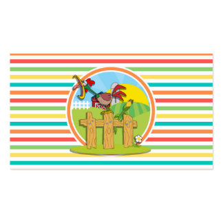 Rooster Bright Rainbow Stripes Business Card Template