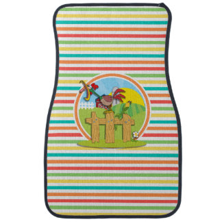 Rooster; Bright Rainbow Stripes Floor Mat