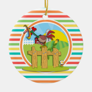 Rooster; Bright Rainbow Stripes Double-Sided Ceramic Round Christmas Ornament