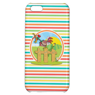 Rooster Bright Rainbow Stripes iPhone 5C Cases