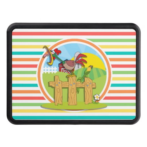 Rooster; Bright Rainbow Stripes Tow Hitch Cover