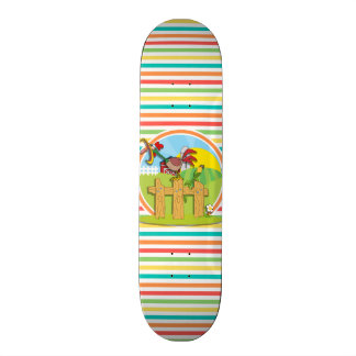 Rooster Bright Rainbow Stripes Skate Decks