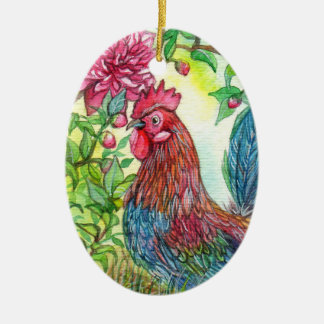 Rooster By Peony Ceramic Oval Decoration
