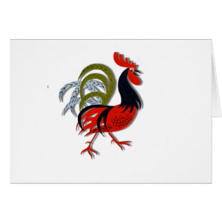 Rooster Cartoon Animated Customize Red Greeting Card