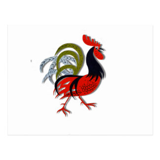 Rooster Cartoon Animated Customize Red Postcard