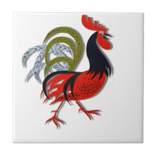Rooster Cartoon Animated Customize Red Tile