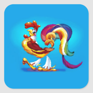 Rooster Cartoon Square Stickers