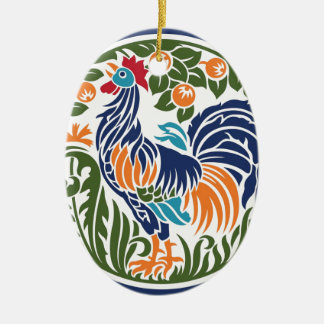 Rooster Ceramic Oval Decoration