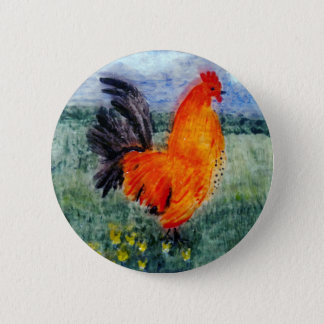Rooster Chicken Art 6 Cm Round Badge