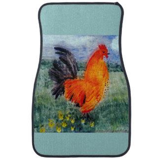 Rooster Chicken Art Car Mat