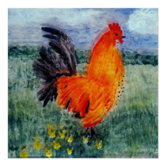 Rooster Chicken Art Poster