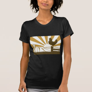 Rooster chicken silhouette crowing T-Shirt