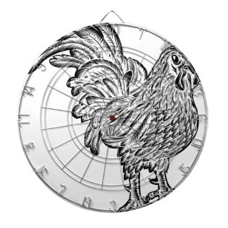 Rooster Chicken Woodcut Dartboard