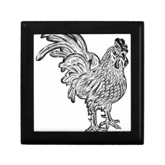 Rooster Chicken Woodcut Gift Box