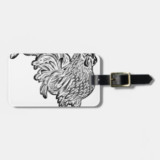 Rooster Chicken Woodcut Luggage Tag