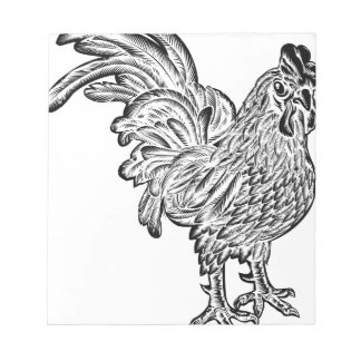 Rooster Chicken Woodcut Notepad