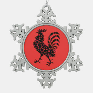Rooster Christmas Snowflake Ornament