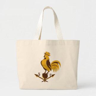 rooster cockerel crowing retro jumbo tote bag
