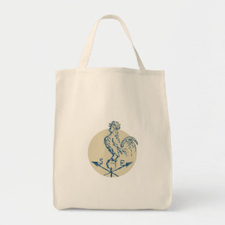 Rooster Cockerel Crowing Weather Vane Etching Grocery Tote Bag