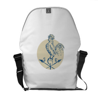 Rooster Cockerel Crowing Weather Vane Etching Courier Bag