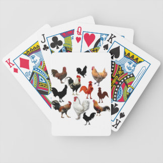 Rooster Collage Vintage Rustic Chickens Bicycle Playing Cards