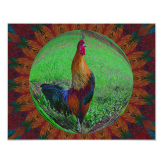 Rooster Crowing Abstract Nature Print