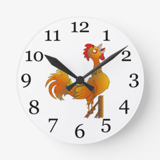 Rooster crowing round clock