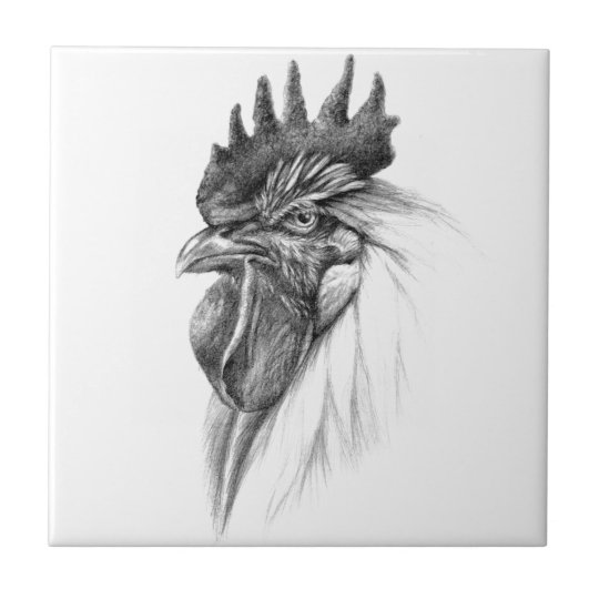 Rooster design by Schukina sk065 Small Square Tile