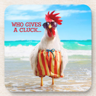 Rooster Dude Chillin' at Beach in Swim Trunks Coaster