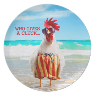 Rooster Dude Chillin' at Beach in Swim Trunks Dinner Plate