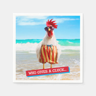 Rooster Dude Chillin' at Beach in Swim Trunks Disposable Serviettes