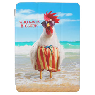 Rooster Dude Chillin' at Beach in Swim Trunks iPad Air Cover