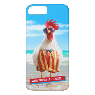Rooster Dude Chillin' at Beach in Swim Trunks iPhone 8 Plus/7 Plus Case