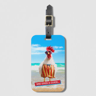 Rooster Dude Chillin' at Beach in Swim Trunks Luggage Tag