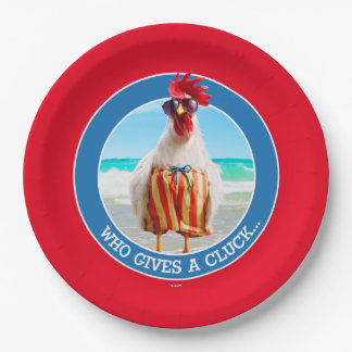 Rooster Dude Chillin' at Beach in Swim Trunks Paper Plate