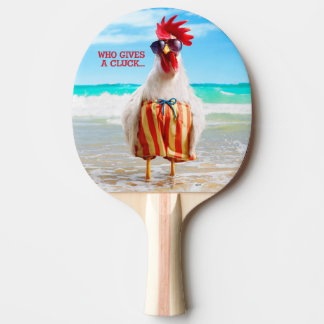 Rooster Dude Chillin' at Beach in Swim Trunks Ping Pong Paddle